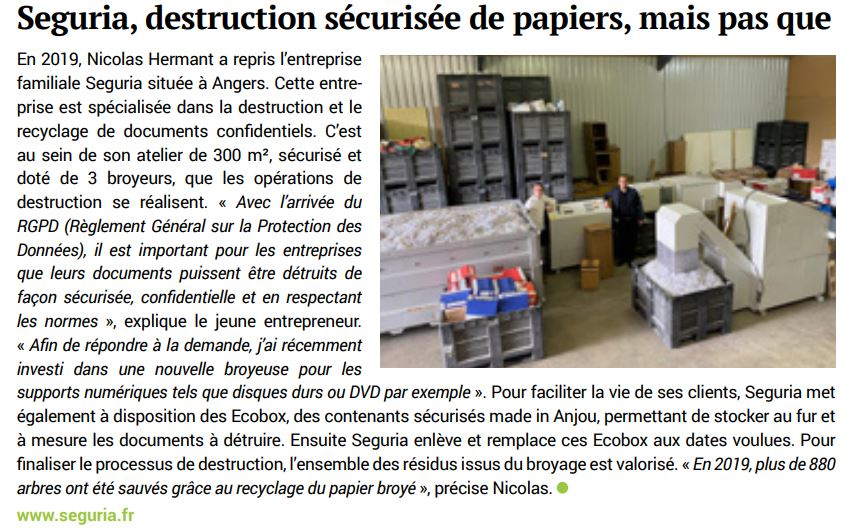 Paru dans Anjou Eco - Seguria destruction de document confidentiels